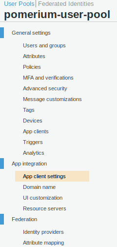 AWS Cognito Side Menu