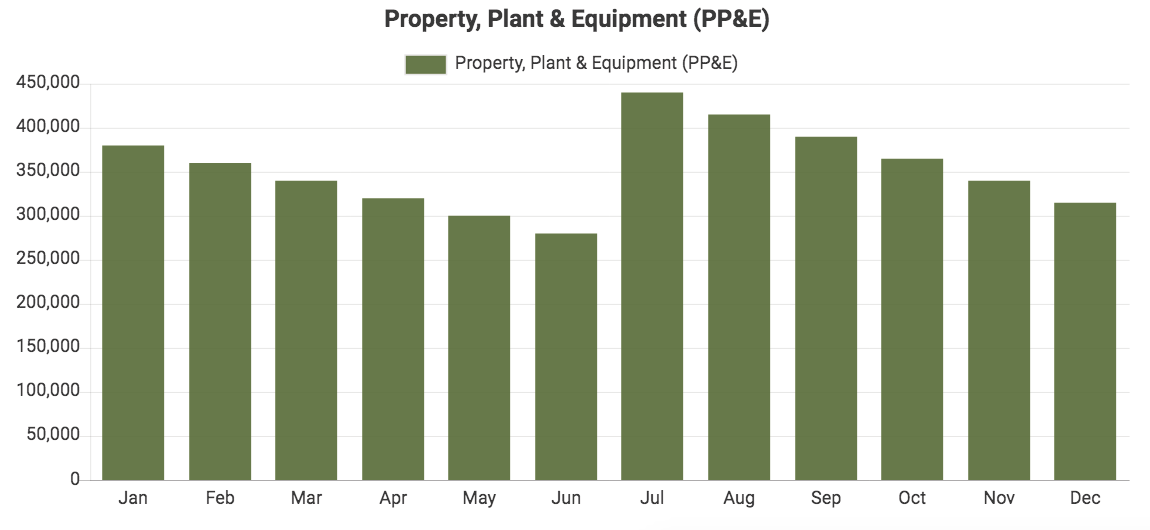 Custom QuickBooks chart showing PPE