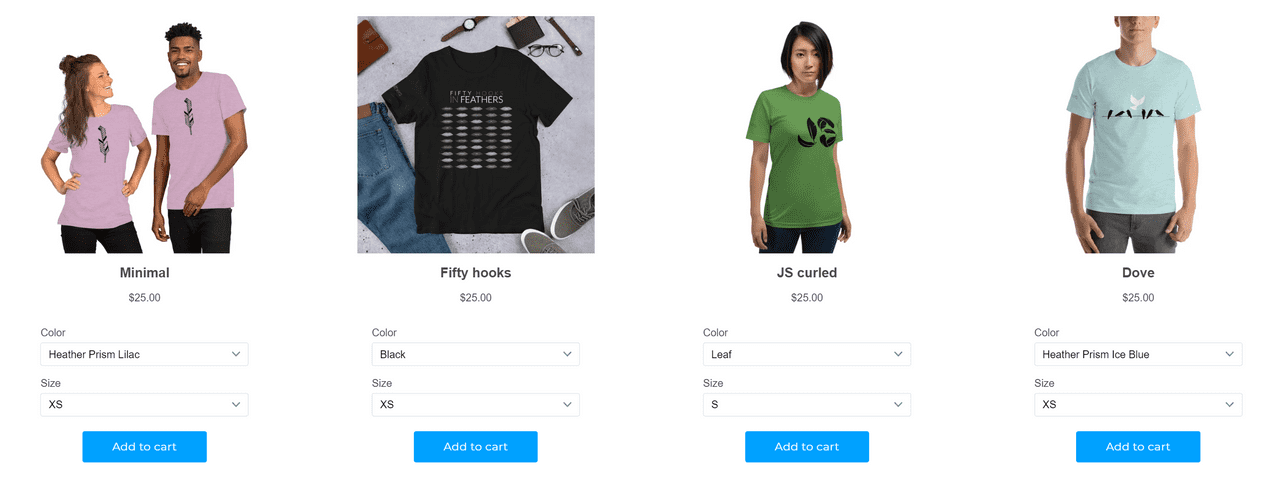 screenshot of the Aquil.io store with feathers t-shirts