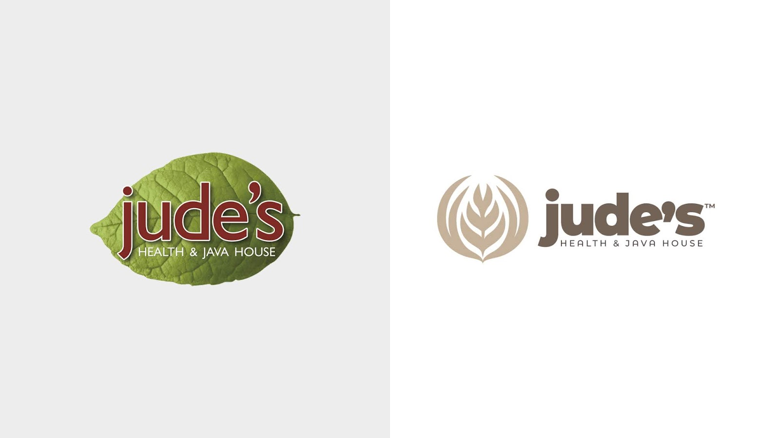A side-by-side comparison of the new and previous Jude's logo marks