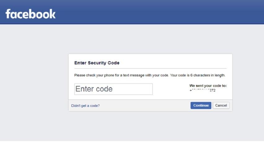 Facebook Recovery via text code: Enter confirmation code
