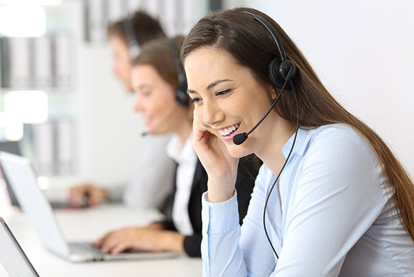 A contact centre agent on a phonecall.