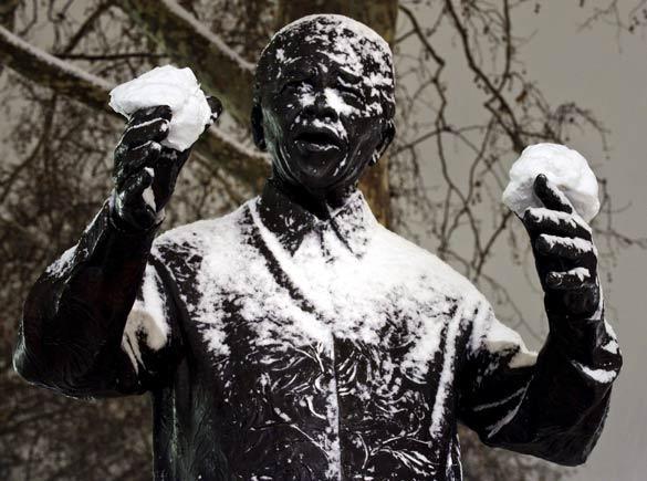 Nelson Mandela In the Snow
