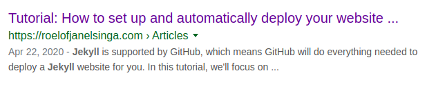 Screenshot of Google Search results for GitHub Pages