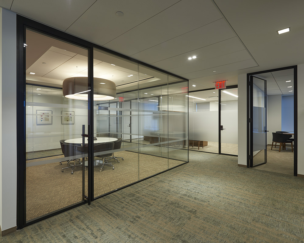 Office Hallway with Decorative Frosted Stripe on Glass