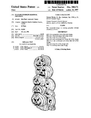 Integrated Plastics Stacking Pumpkins Seasonal Ornament Patent #D380171.pdf preview