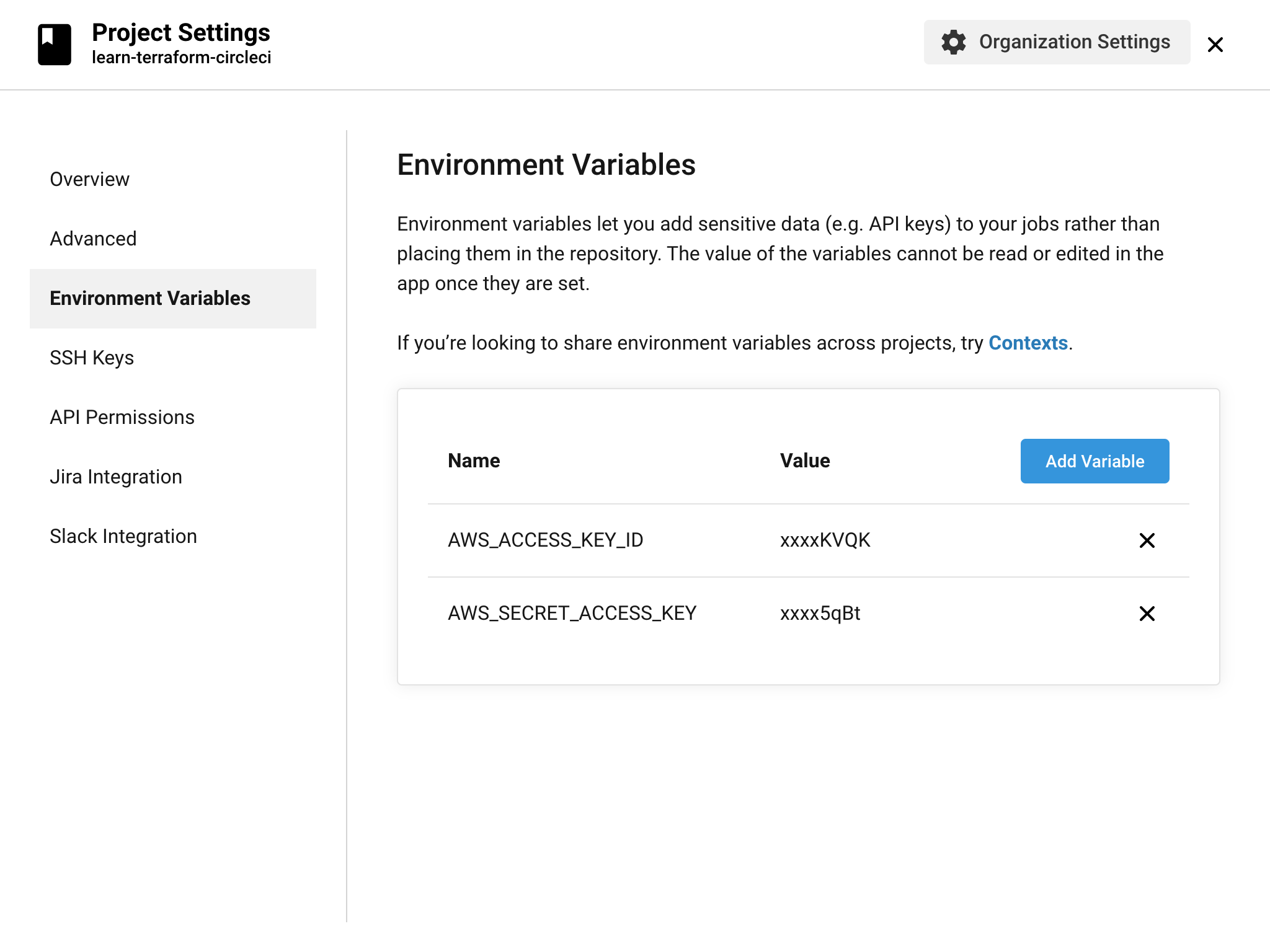 Create two environment variables in the CircleCI UI