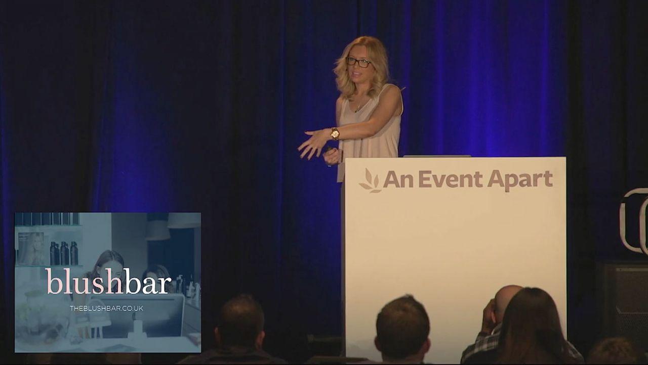 Sarah Parmenter speaking on stage