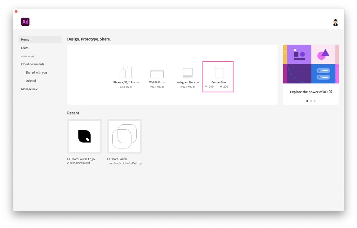 Creating a custom artboard in Adobe XD