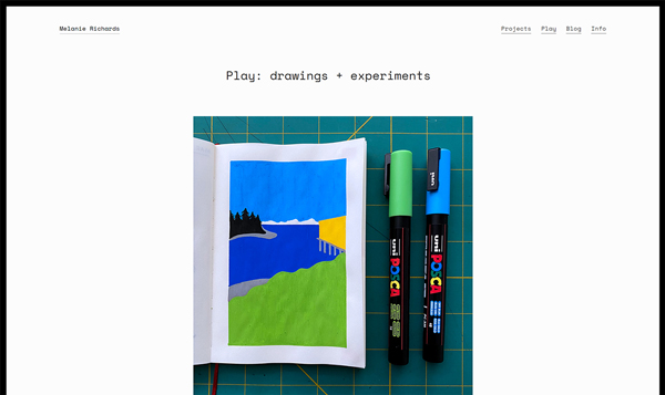 A page titled 'Play: drawings and experiments', with a paint marker drawing of Puget Sound beneath it