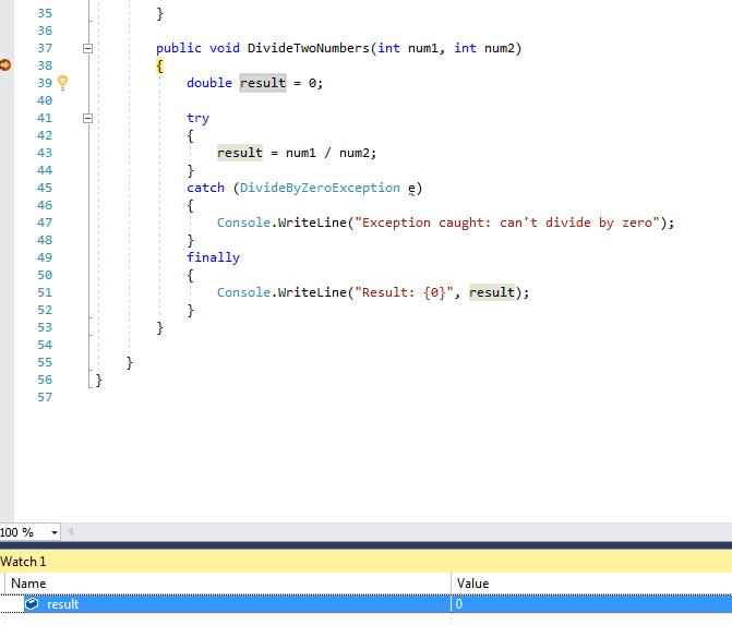 Visual Studio 2017 with break point set on public method