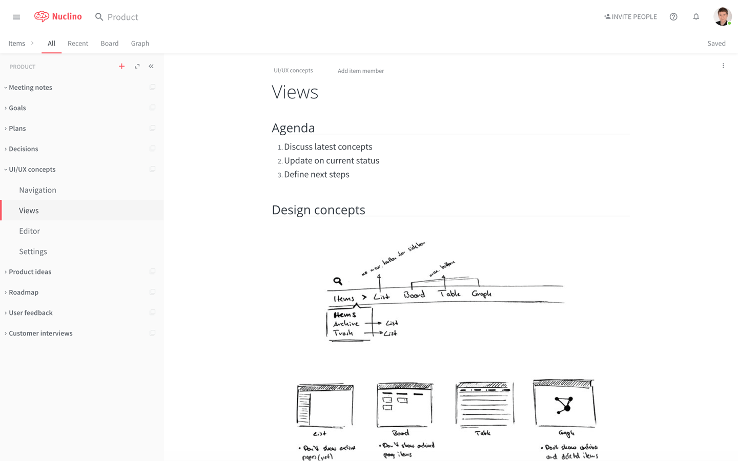 Screenshot of Nuclino for product teams