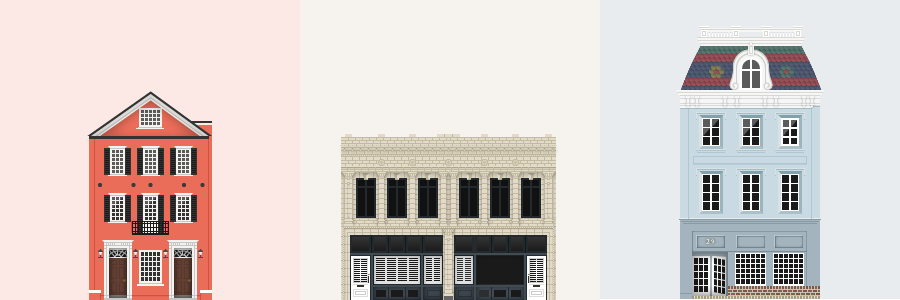 A simple vector illustration of two traiditional Charleston homes and a storefront
