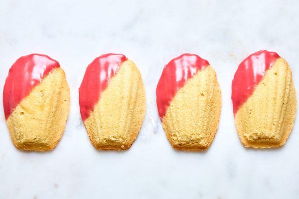 Easy Lemon Almond Madeleines With a Raspberry Glaze