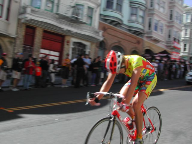 Cyclist in SF during the SF Grand Prix 2002