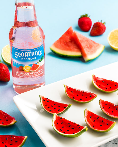 Jamaican Me Happy Watermelon Slice Shooters Recipe Image