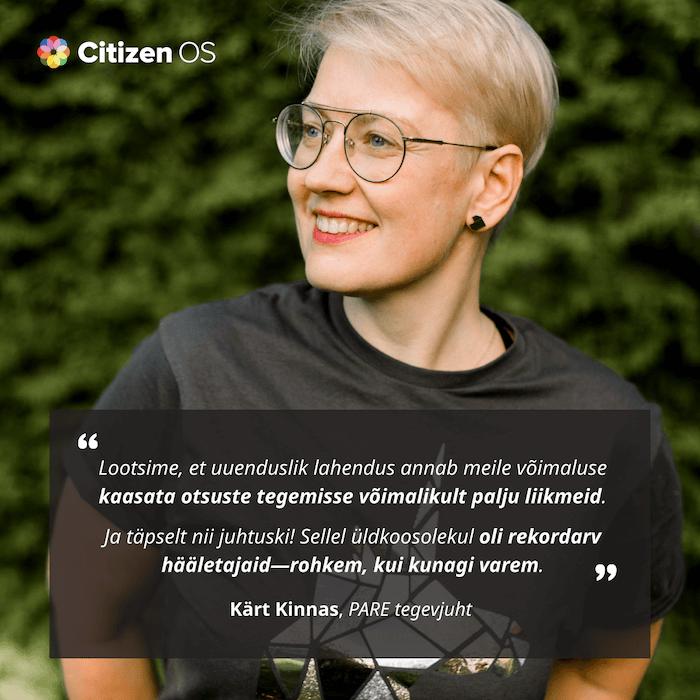 Portree PARE tegevjuhist Kärt Kinnasest koos tekstiga.