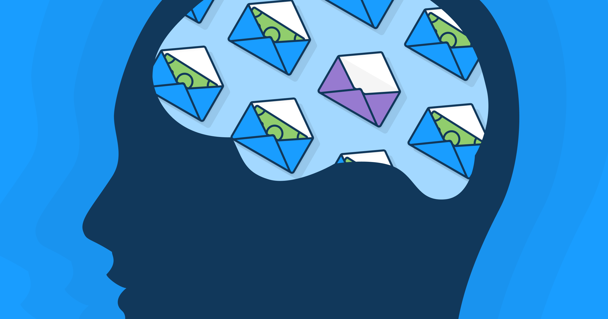 A silhouette of a person's head, with the brain area filled with envelopes containing money