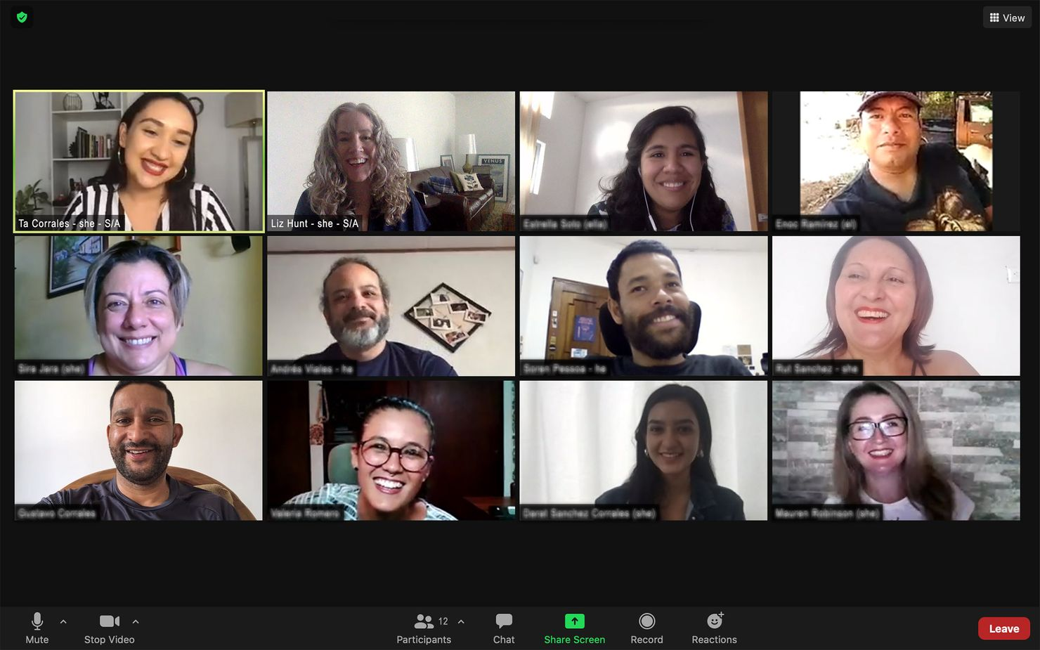 ta and liz of smith assembly facilitate an online meeting over zoom with 10 participants (6 women and 4 men)