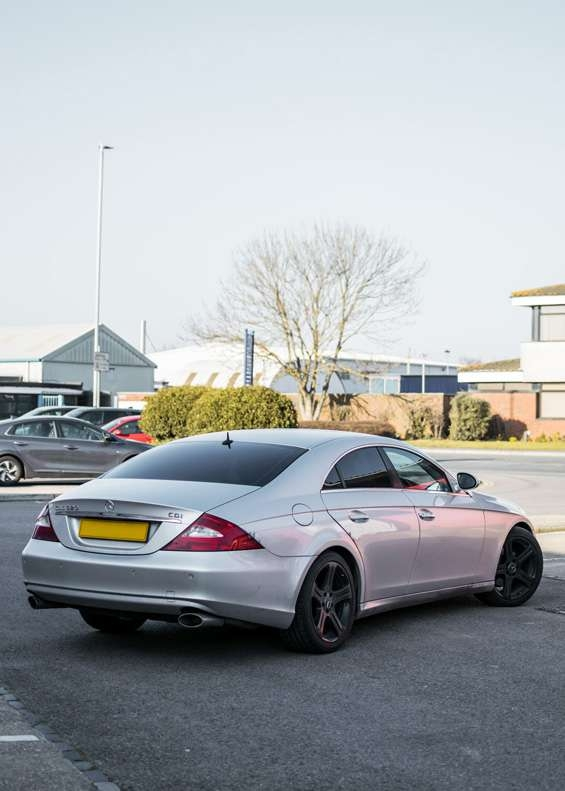 Grey Mercedes CLS car before vinyl wrapping