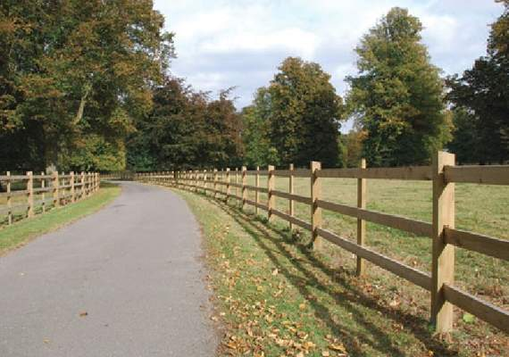 Morticed post and rail fence