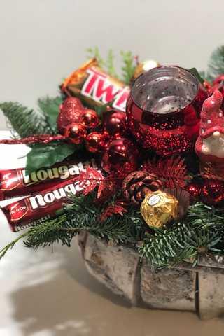 Grote xxl rode ovaal kerststuk