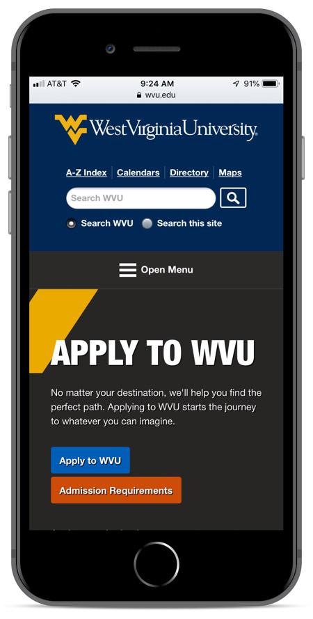 West Virginia's homepage as viewed on an iPhone 8