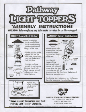 General Foam Plastics Pathway Light Toppers Instruction Manual.pdf preview
