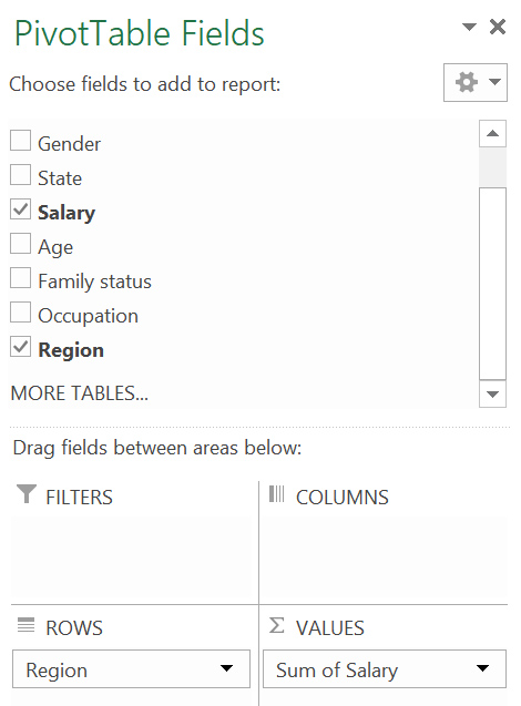 """A screen grab of the """"Pivot table fields"""" window in MS Excel, with """"salary"""" and """"region"""" selected"""