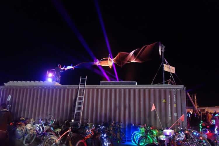 Burning Man Illuminated Spinning Strings synced to music.