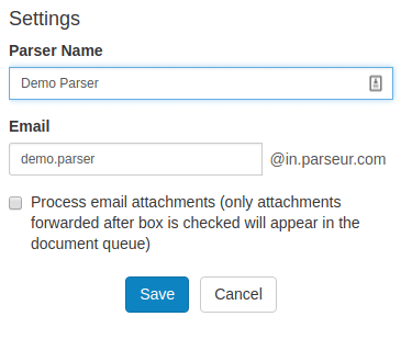 Tick the box if you want to parse email attachments as new documents