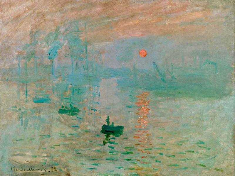 Monet's world-famous 'Sunrise' painting from 1874, depicting a Le Harve port landscape.