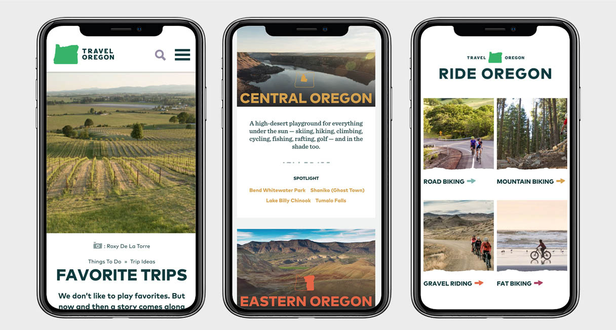 Three smartphones showing images of the Travel Oregon website