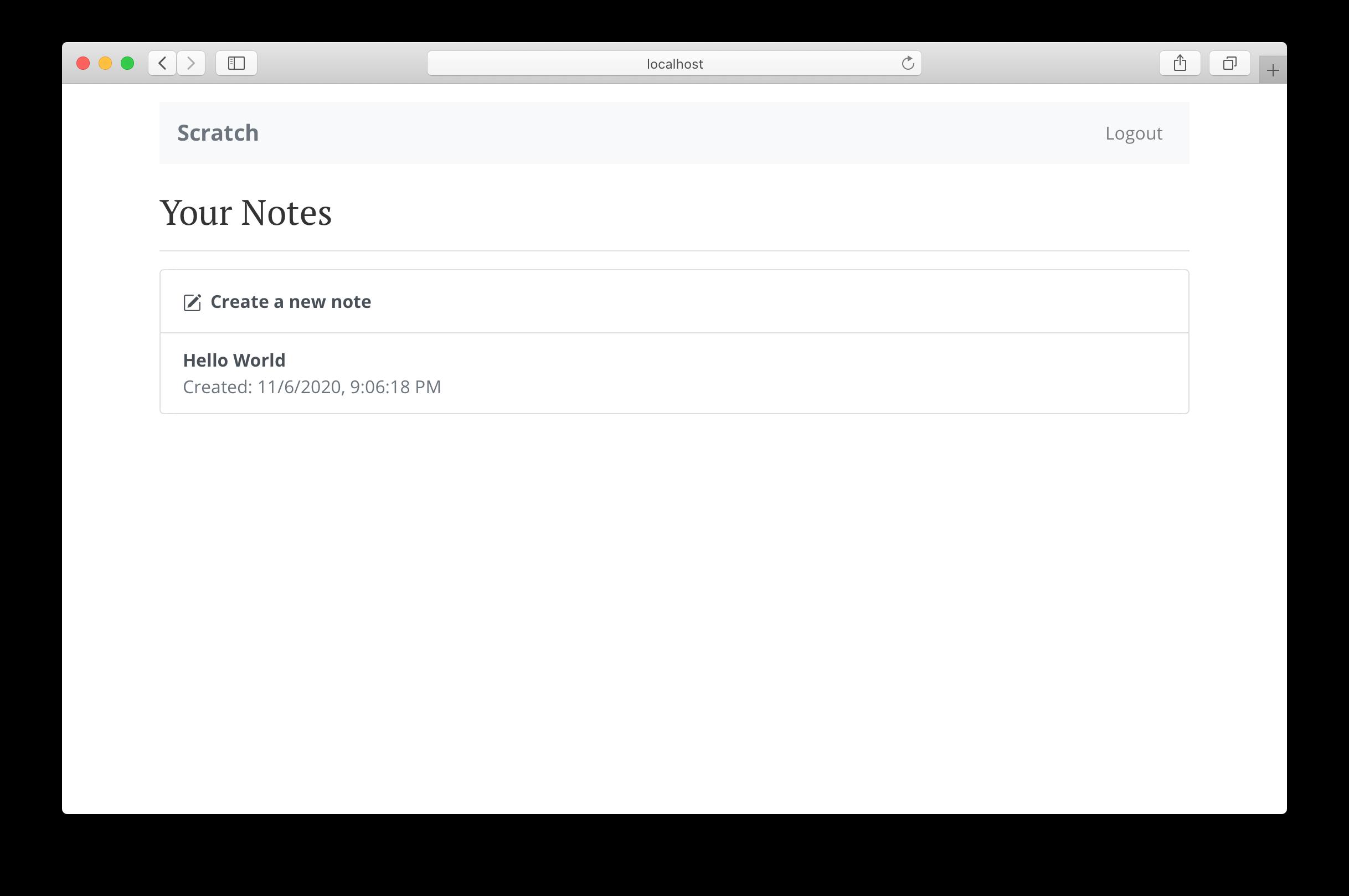 노트 목록의 홈페이지 화면