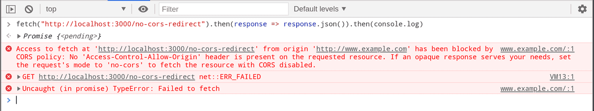 Error on redirection with no CORS support