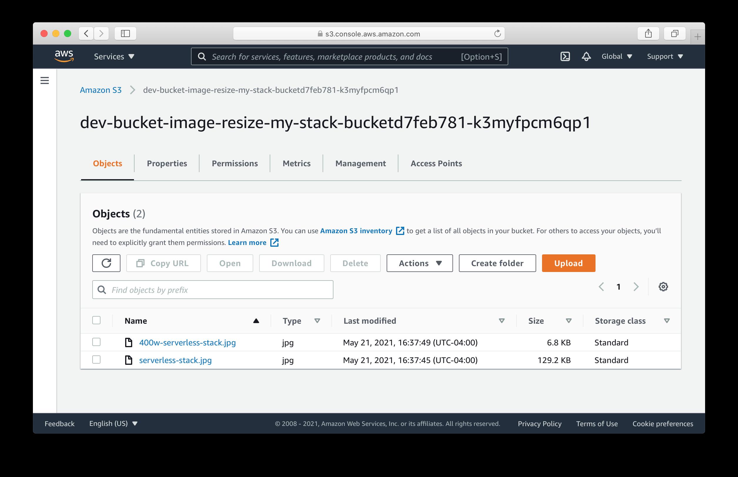 SST resized image in S3 bucket