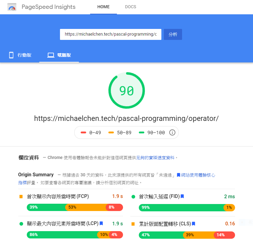 PageSpeed Insight 桌面環境跑分