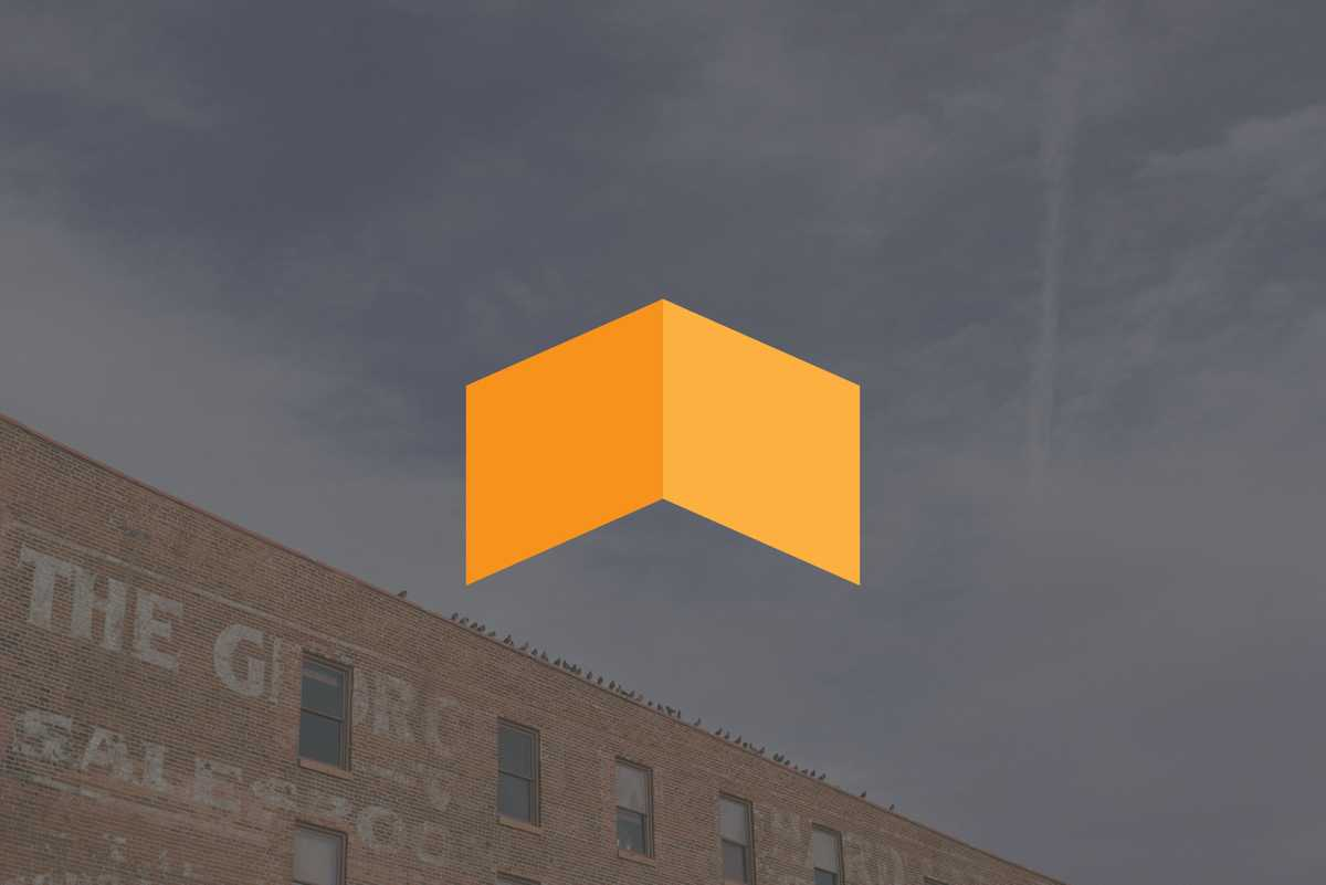 The upward arrow logomark of Uptime Ventures superimposed over a stylized older building in Denver, Colorado, USA