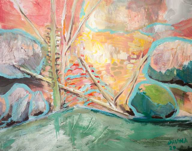Sacred Landscapes Middle Fork River, acrylic on paper