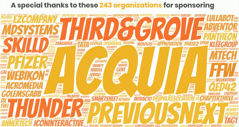 word cloud of drupal 8 sponsoring companies. Third and Grove is one of the biggest sponsors
