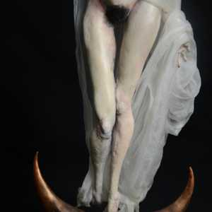 kristina makarova from playboy ukraine isnpired this fine arts sculpture with a religious gothic art undertone, reminding of afrench Madonna in veil and cape, also known as the Virgin Mary, made a real sensual woman with feelings of angst, ballerina gracious feet in her middle age, the fruit of life itself.