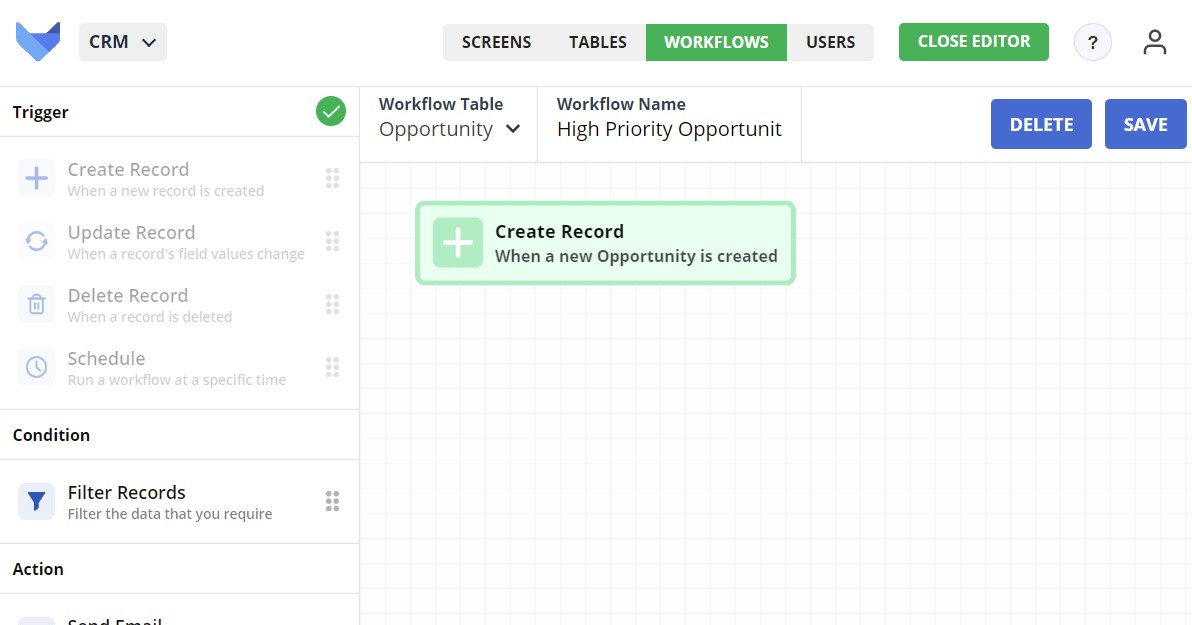 Workflow canvas with create record trigger added