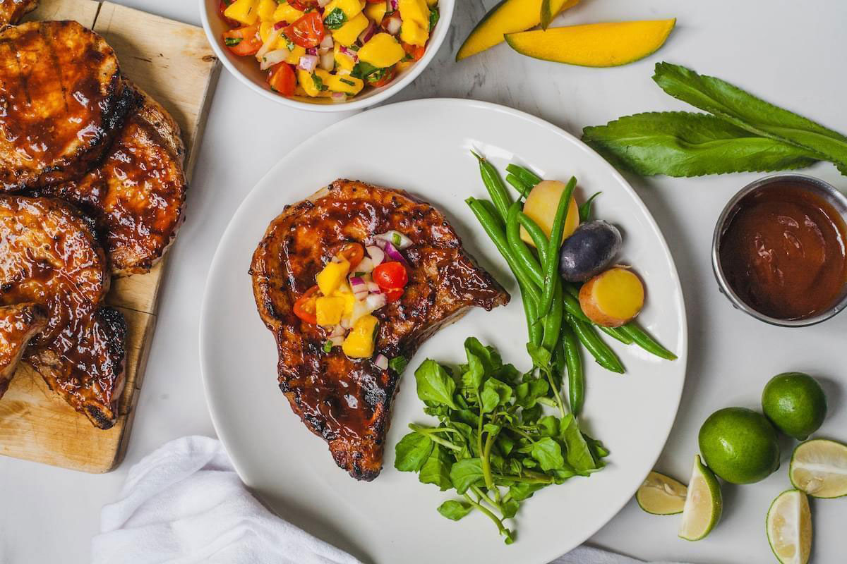 Glazed Smoky Grilled Pork Chops With Mango Salsa