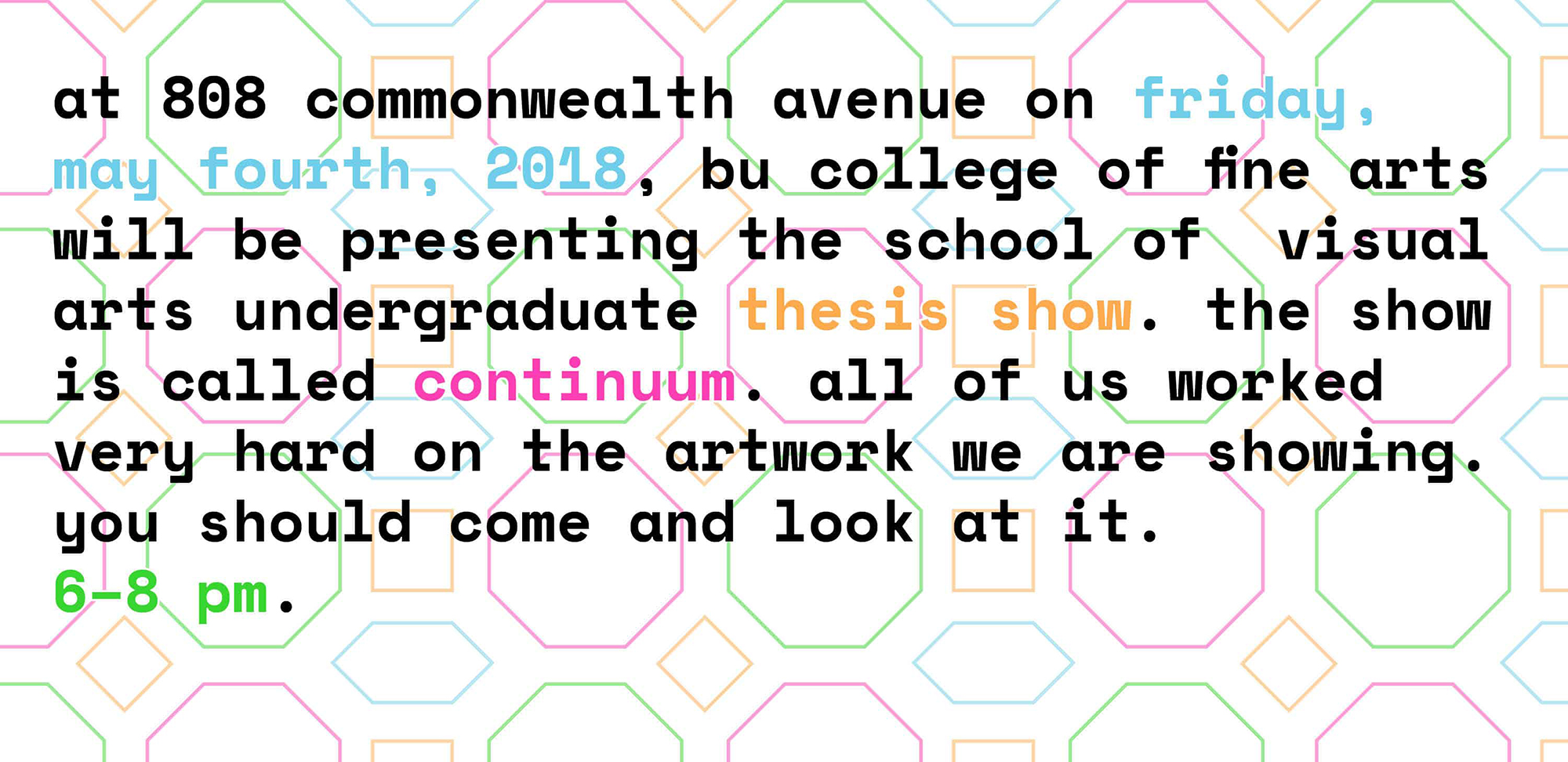 digital invitation to thesis show with geometric patterned background