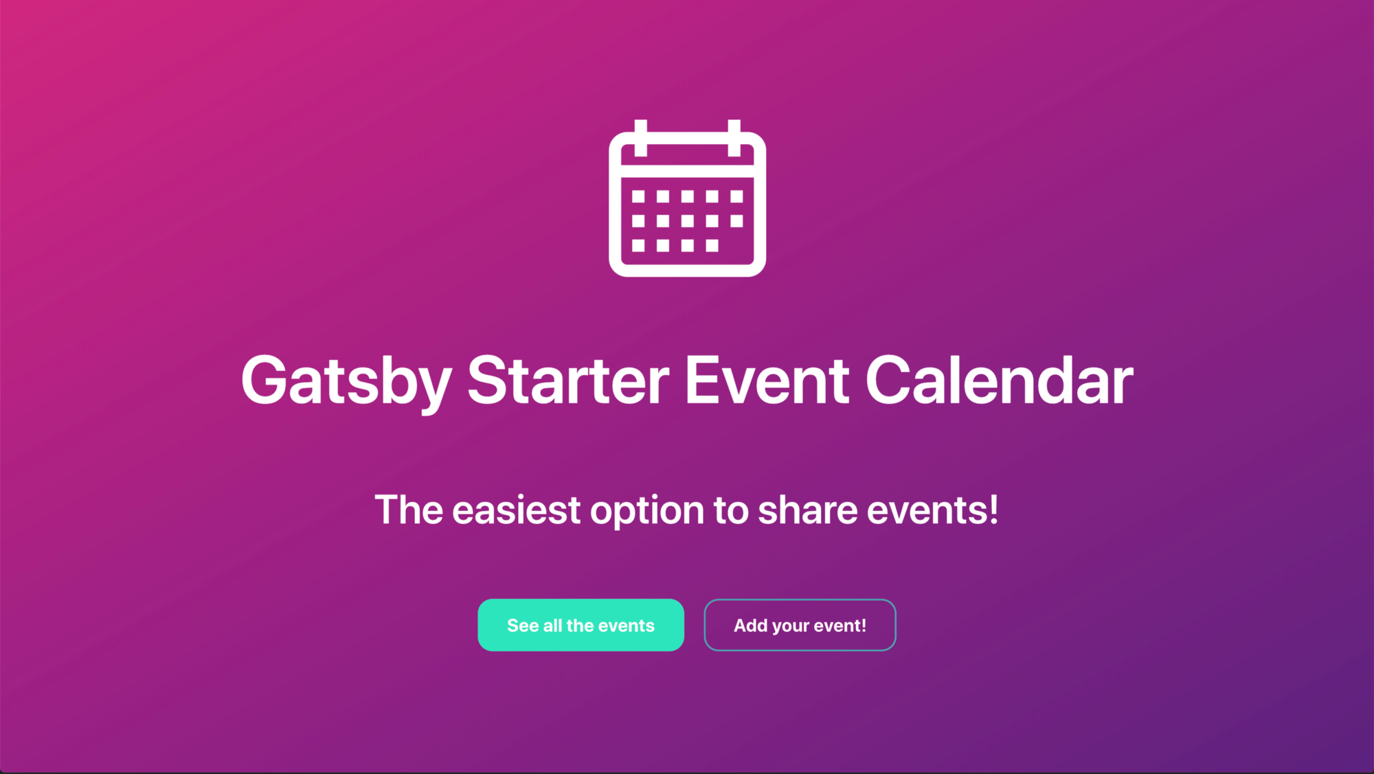 Event Calendar Starter — Home