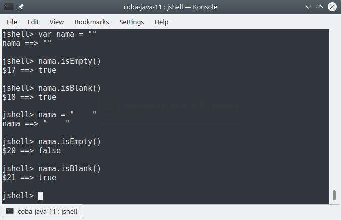 isEmpty() dan isBlank()