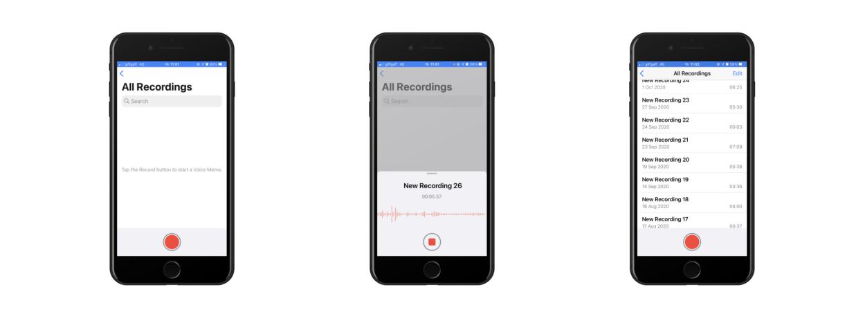 Screenshots of the Voice Memos app.