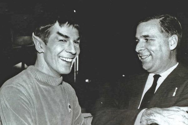 Leonard Nimoy and Gene Roddenberry on set, 1964