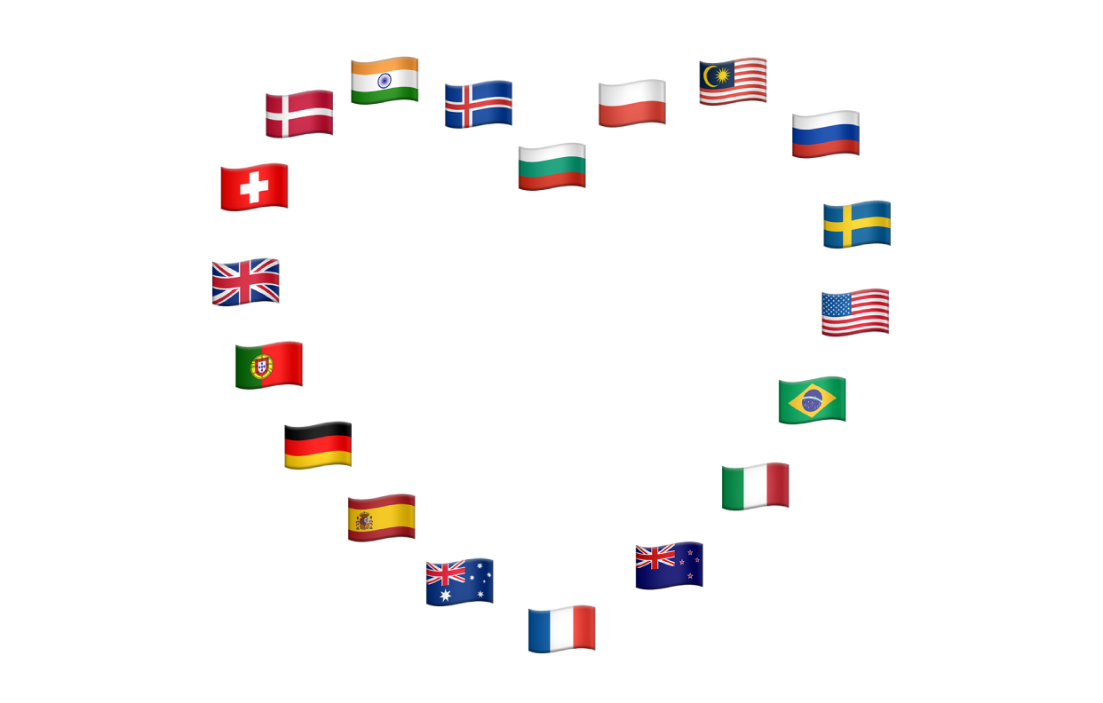 A heart formed of flags of various countries in Europe, Asia and the Americas