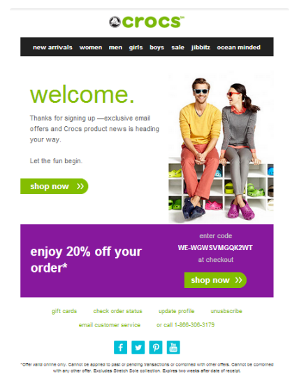 Crocs welcome email